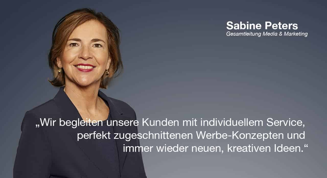 Sabine Peters, Gesamtleitung Media & Marketing